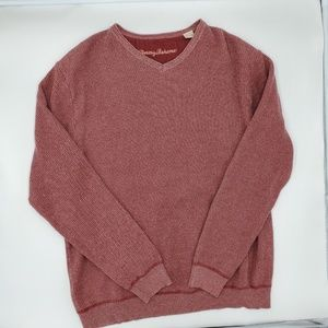 Tommy Bahama V-Neck Pullover Sweater Ribbed Blush